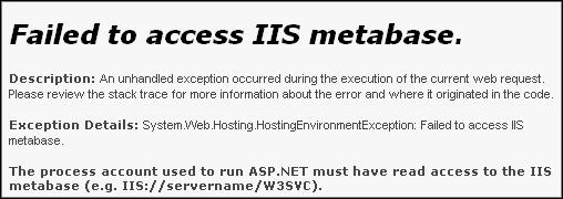 Failed to access IIS metabase