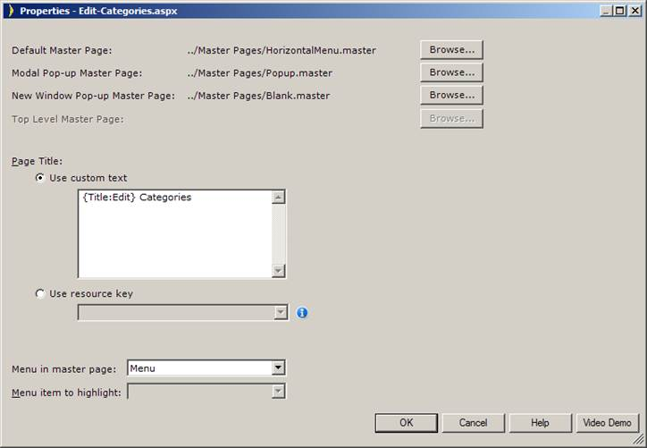 Configuring Modal Pop-up Pages
